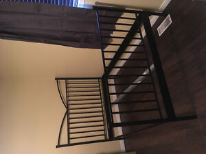Double bed frame. Metal, foot and head railings
