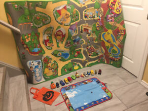 Little People car mat, toy cars and paw patrol aqua doodle