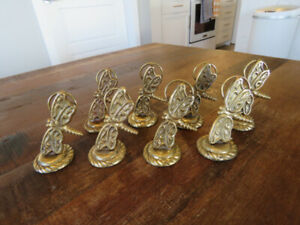 Set of 8 Brass Dragonfly Place Setting Card Holders
