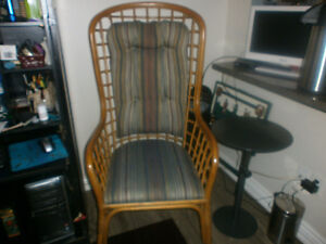 Pair of rattan high back deck chairs or indoors