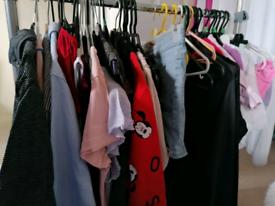 Selection of clothing kids, women's, men's.