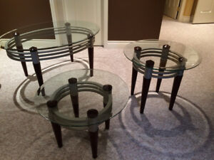 Glass topped coffee and end tables