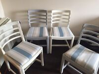 Set of four Laura Ashley covered Annie Sloane chairs