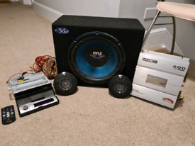 """SONY cdx-f7500, 12""""subwoofer, 2xspeakers, 600w amp +extras"""