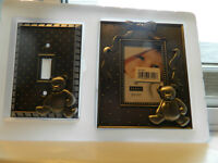 Metal lightswitch cover and frame NEW