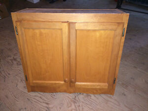 Upper Cabinet - Birch wood with scroll bottom trim London Ontario image 1