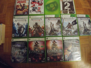 Jeux Xbox 360 , assasin creed, fable 2, gears of war 2 etc