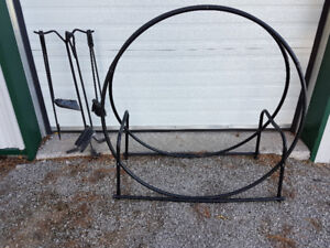 Fireplace Tool Set and Wood Storage Ring