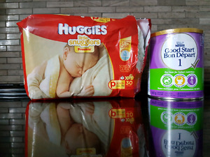 Formula and premiere Huggies diapers