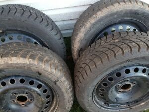 215/55R16 Winter Claw Tires on 16 Inch Rims - 5x108 Bolt Pattern