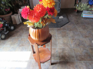 wooden plant stand with fall decor