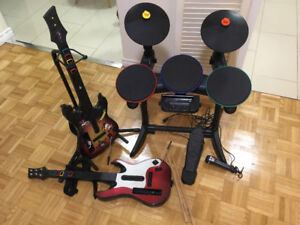 Guitar Hero game set - 2 guitars, drum set, microphone and games