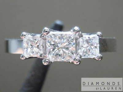 0.71ctw F-G SI1 Princess Cut Diamond Ring R2170 Diamonds by Lauren