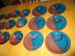 DONN DVER Pottery 6 place settings (18 pieces) hand spun