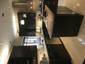 Solid wood dark brown kitchen with high end granite
