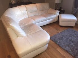 White Leather Corner Couch & Storage Foot Stool