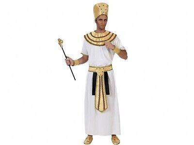 Costume Faraone Bianco Uomo M/L Adulto Re Egitto Akhenaton Egiziano Nuovo