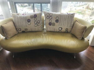 Modern leather sofa couch with pillows, condo size made in Italy