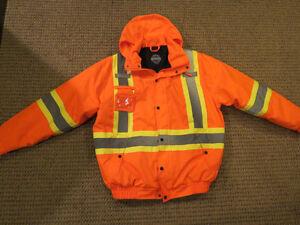 Men's XL Hi-Visibility Reflective Orange Winter Jacket Brand New