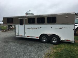 Cowboy Living Quarters 3 horse trailer~ all aluminum
