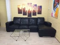 Long Black Leather Corner Sofa