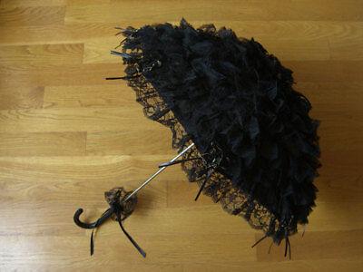 Gothic Lolita Layer Lace Umbrella Parasol EGL Punk Victorian Cosplay Black Rose](Black Parasol)