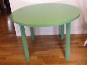 Green wood dining table