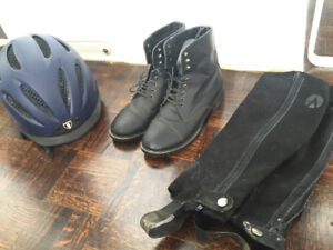 Horse Riding Equipment size 4 (shoes, helmet and gaiters)