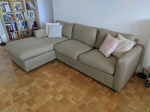 Solid Built Sectional Right Chaise Sofa Couch Beige