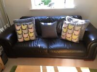 *free* 2+3 seat brown leather sofas
