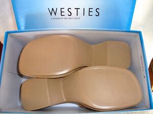 Nine West 'Westies' women beige leather wedge sandals 7M