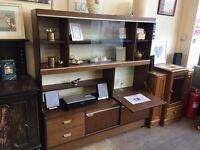 Wooden retro wall unit with drinks shelf