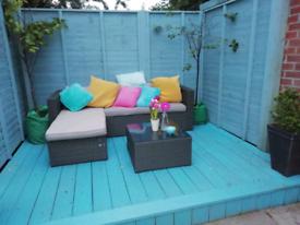 Modern Grey rattan outdoor corner sofa, great condition!