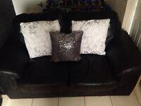 Black leather 2piece sofa 3&2 seater