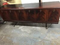 Vintage retro large wooden sideboard TV cabinet long credenza mid century antique