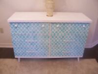 GREAT DEAL! Beautiful White and Turquoise Dresser I DELIVER