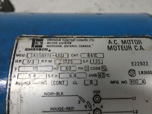 Emmerson AC Electric Motor 1/3HP, 1725rpm,single Phase ,115 volt Kitchener / Waterloo Kitchener Area image 2