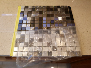Mixed pattern stainless steel tiles for kitchen backsplash