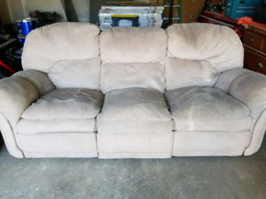 White Microfiber Recliner Couch