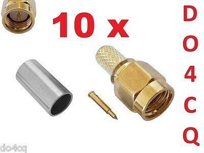 10er Pack SMA Stecker vergoldet für RG58 & RG142 Crimp f.Funk,WLAN,UMTS,LTE, GPS