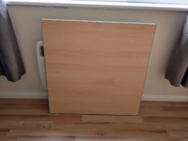 Beech / grey veneered 77cm square table top with silver grey edging