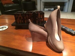 Locale Fawn Coloured Platform Wedge Shoes for Sale