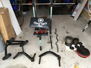 Adjustable Bench and 170lbs in Free Weights