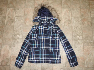BLUENOTES blue & white plaid jacket w/hood - size medium - $15