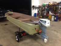 14' aluminum boat with evinrude 9.9 and trailer
