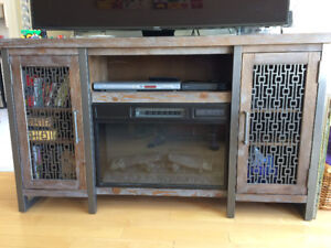 TV Stand with electric fireplace, 15 month old