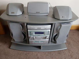 TV stand & Sharp Mini surround sound music system VGC