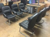 Leather office reception chairs