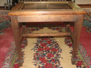 Antique Black Walnut Piano Bench Stool Side Table With Glass Top
