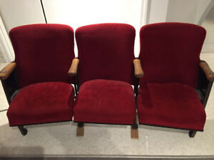 3 Seat Theatre Seating unit From Old Danforth Movie Theatre